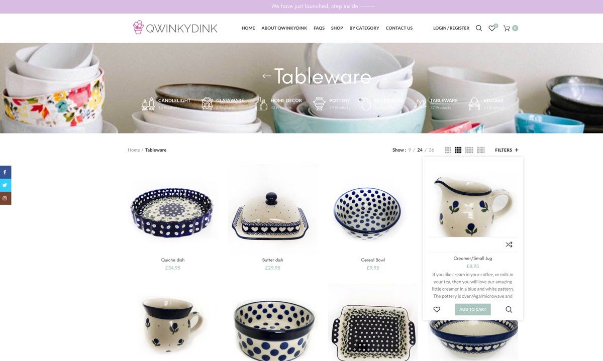 qwinkydink online shop design